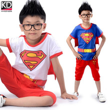 Hotsale Children Summer Clothing Set Boys Hero Superman Cosplay Wear Sports Outfit Kids TrackSuit Cotton T shirt & middle pants