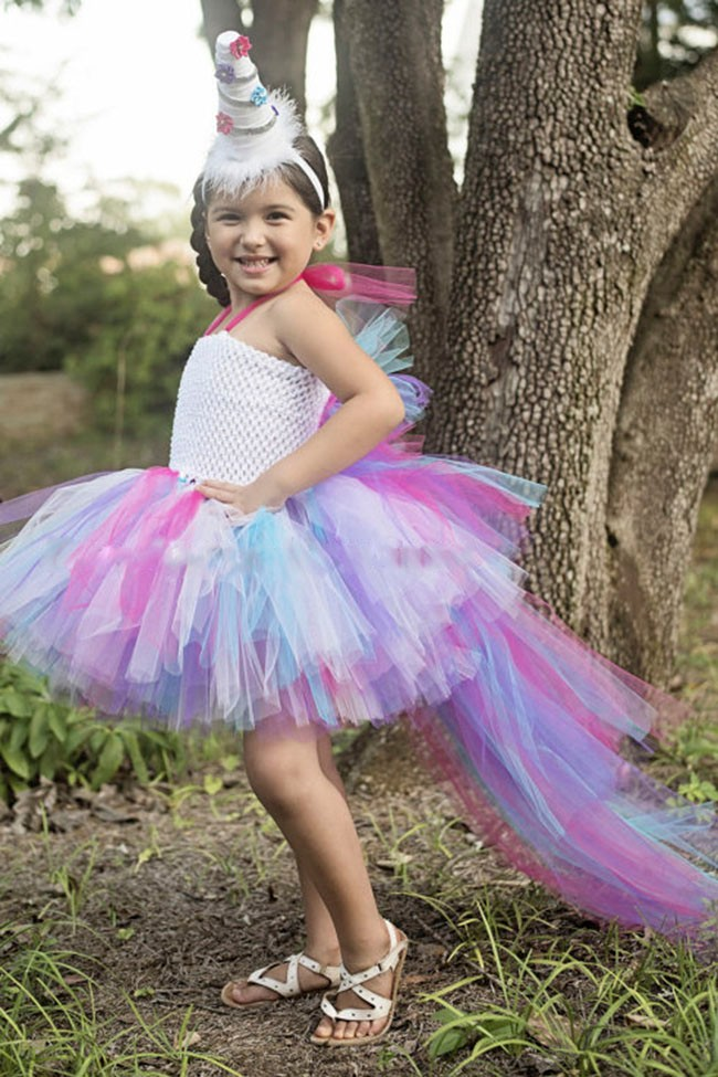 swallow-tailed rainbow princess bridesmaid flower girl wedding dress tulle fluffy ball gown birthday evening party tutu dress <br>