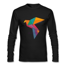 Long Sleeve T Shirts Vintage Geometric Colourful Paper crane Origami Mens Organic Cotton Spring  Printed  daily t shirt sale