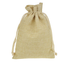 9.5x13.5cm 50pcs Cream Small Jute Drawstring Gift jewelry package bag Stylish Natural Burlap with Nylon Drawstring Reusable(China)