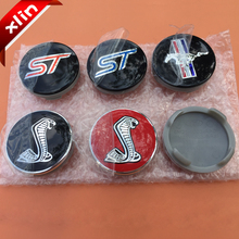 4pcs Hot sale 54mm ST Mustang Cobra Shelby logo car emblem Wheel Center Hub Cap Rim Badge covers Free shipping