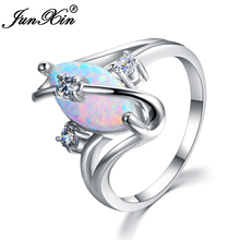 JUNXIN Female White Fire Opal Ring Unique Geometric Ring Fashion Gold Filled Jewelry Vintage Wedding Rings For Women Best Gifts
