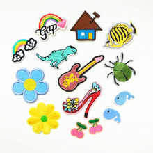 Diy Embroidered Dinosaur Patches for Kids Clothes Iron on Animal Appliques Diy Sewing Crafts Top Garment Patch Fabric Stickers