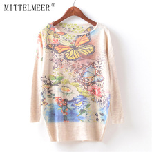 MITTELMEER New Autumn and Spring Harajuku printed Sweaters women o-neck printing Butterfly Flower Sweaters tops for women