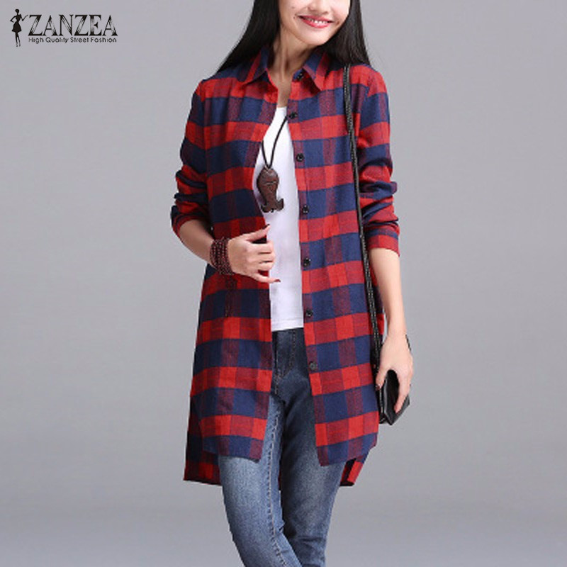 2016 Autumn ZANZEA Women Retro Plaid Shirts Lapel Long Sleeve Split Asymmetrical Long Blouses Tops Loose Casual Blusas Oversized