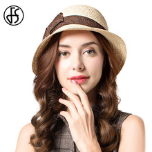 FS Elegant Bow Flower Sun Hat For Women Summer 100% Raffia Straw Hats Roll Up Brim Floppy Beach Visor Cap(China)