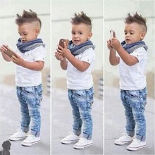 DTZ265 retail Childrens clothing fashion handsome male baby short sleeve top Jeans boy set children costume summer Children set(China)