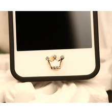 Bling Rhinestone Crytal Crown Home Button Sticker for Apple Iphone 5 5S 6 6s 7 Plus IPad IPod Luxury Mobile Phone Stickers