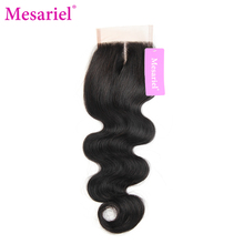 Mesariel Brazilian Middle Part Closure Non-Remy Hair Natural Black Color Human Hair Free Shipping Body Wave Lace Closure(China)