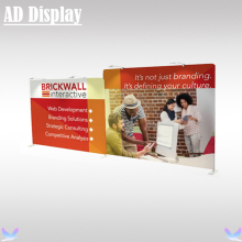 Trade Show Booth Two Straight Stretch Fabric Exhibit Display Backdrop Wall With Single Side Banner Printing(Include LED Light)(China)