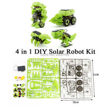 4-in-1 Assemble Solar Robot Model Building Kit,DIY Assemble  Solar Power Kits Novelty Solar Robots Educational Dinosaur for Kids