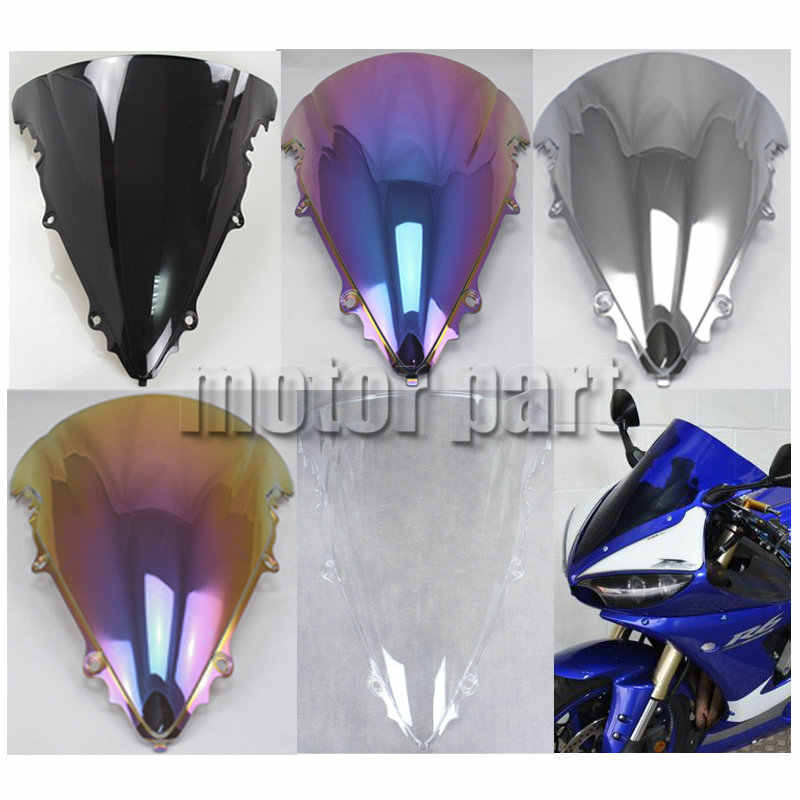 Motorcycle Windshield Windscreen For Yamaha YZF-R6 2003-2005 R6S 2006-2009 Black
