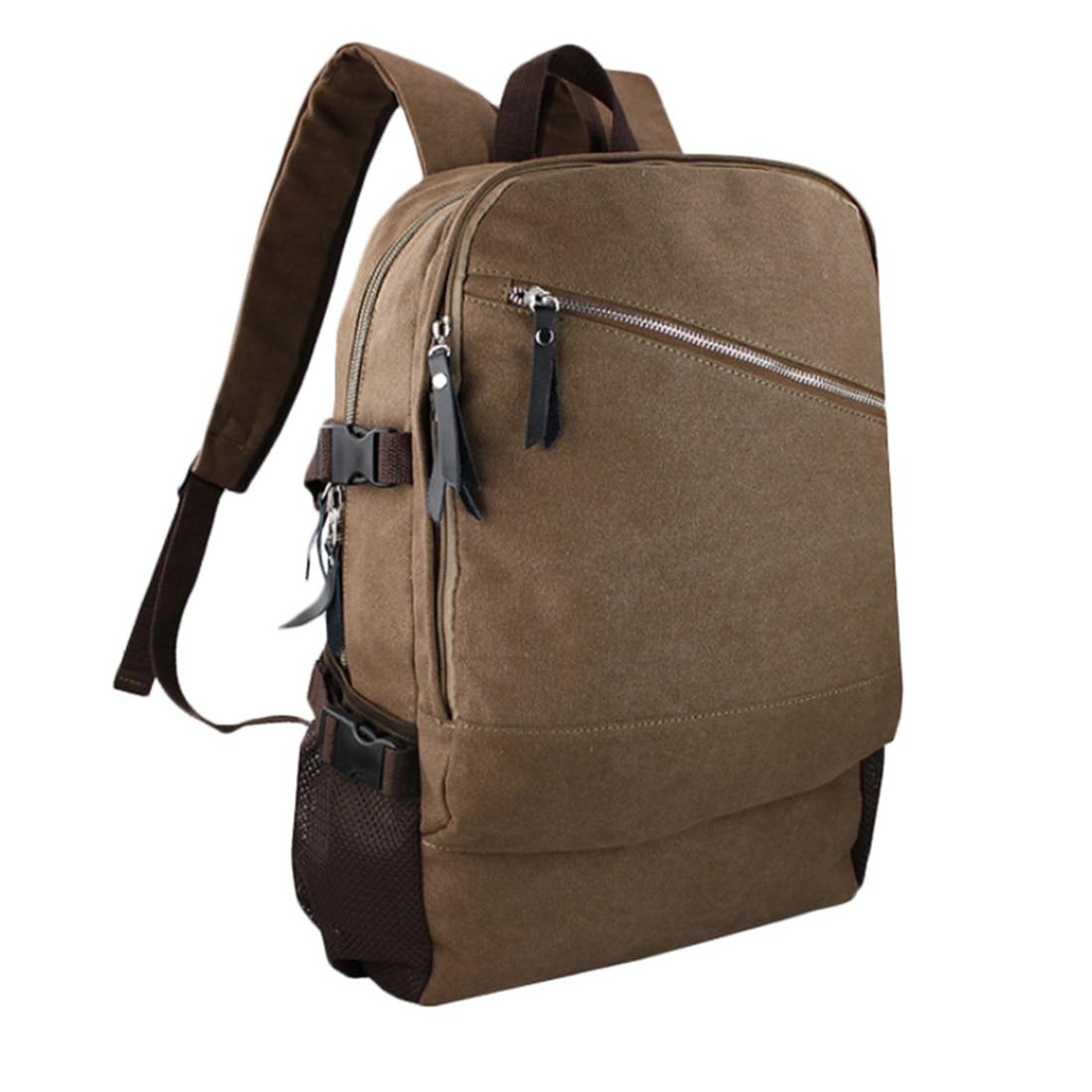 New Trending Male Backpack Simple Design Leisure Canvas Shoulder Bag Large Laptop Bag Schoolbag Mans Shoulder Bag- Khaki<br>