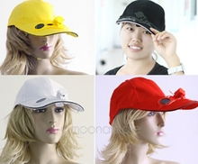 Black Solar Power Hat Cap With Cooling Fan For Baseball Dropship Stylish Practical Cap Wear 4 Colors HM357(China)