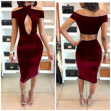 Halter Velvet Dress Women 2017 Sexy Summer Off the Shoulder Hollow Cut Out Bodycon Bandage Midi Dress Night Club Party Dresses