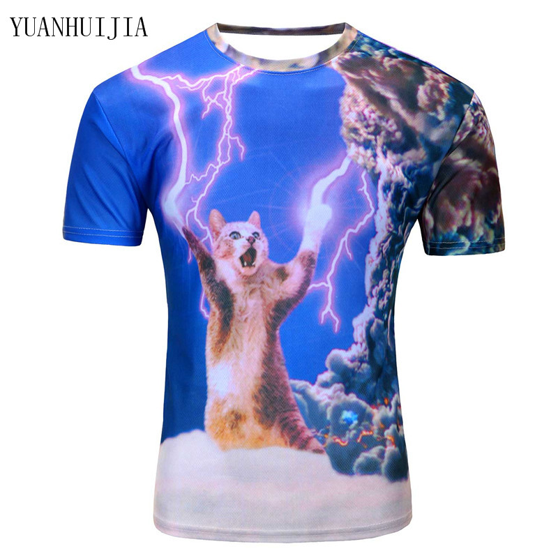 2018 new arrivals three-dimensional clothing printed 3d fearless t-shirt kitty cat thundercat playing lightning t shirts