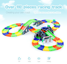 2017 Hot Sale Glow Racing Track Set 28/96/144/192PCS Race Track DIY Roller Coaster Track Assembly Flexible Track Vehicle Toys(China)