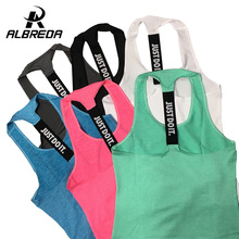 ALBREDA Professional yoga vest sleeveless solid color loose Quick Drying running Gym sport yoga shirt women fitness tank top(China)