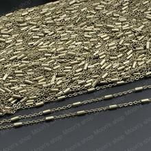 (24025)Metal Jewelry Link Necklace Chains Copper Antique Bronze Chain width:1.5MM flat O chain with Cylinder 5 Meter(China)