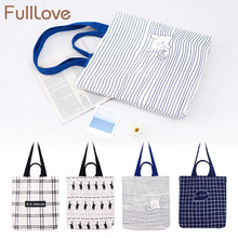 FullLove Women Shopping Bags Cats Plaid Striped Printed Handbags Canvas Fashion Students School Home Office Storage Bags