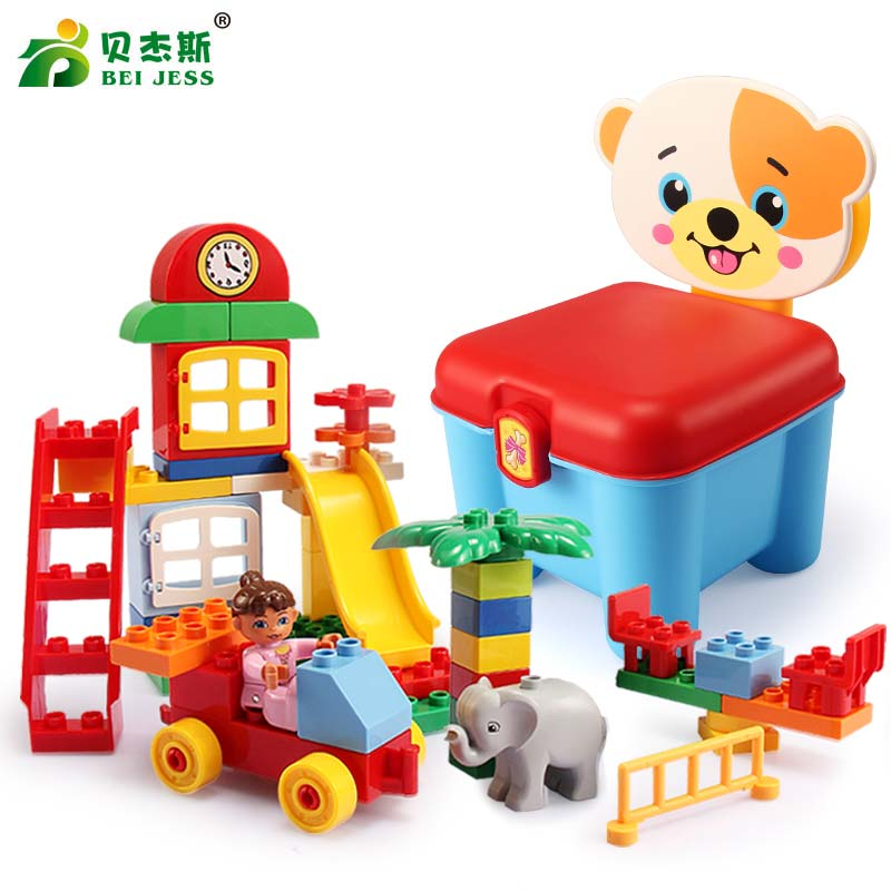 BEI JESS 47Pcs Girl Amusement Animal Zoo Classic Big Block DIY Set Educational Children For Toys Gifts<br>