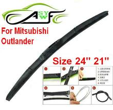 "Free shipping car wiper blade For Mitsubishi Outlander Size 24"" 21"" Soft Rubber WindShield Wiper Blade 2pcs/pair(China)"