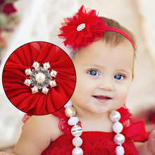 Girls Children 2017 Christmas Lace Pearl Feather Flower Headband Red Cloth Hair Accessory Cute Lovely Headwear Hair Band Fashion(China)