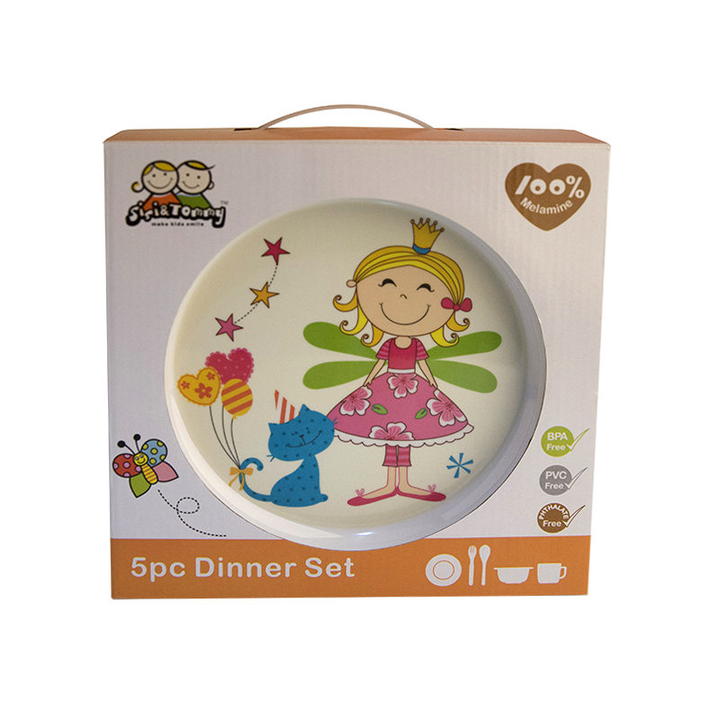 Baby Feeding Dishes Set Bowl Plate Forks Spoon Cup Children's Tableware Melamine Dinnerware Feeding Set For Kids Dishes Plate (2)