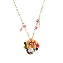Long Chain Gold Color 2015 Summer Sweet Design Gift For Friend Simple Crystal Flower Necklace Pendants(China)
