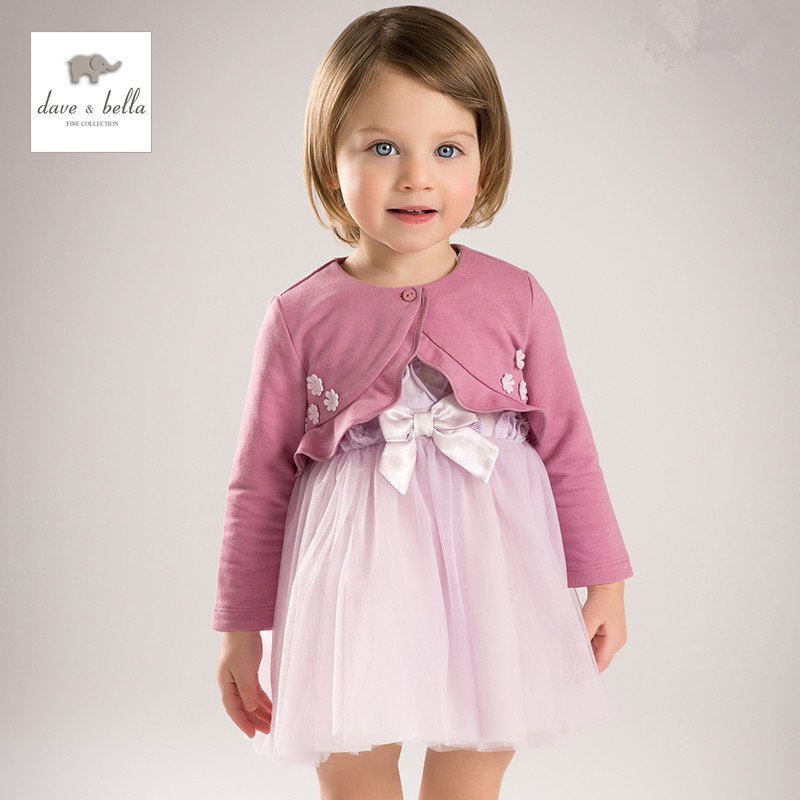 DB5142 dave bella spring baby girl princess dress children lilac boutique dress 2pcs a set dress with shawl<br>