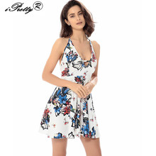 2017 New Summer Floral Print Halter Deep V Neck Sleeveless Dresses Sexy Cut Out Backless Beach Dress Mini Club Party Dress
