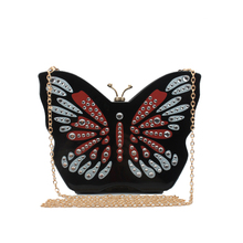 Fashion personality cute mini butterfly shape evening bag clutch diamond chain flap shoulder bag handbag messenger bag