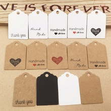 100pcs Kraft paper hand made tag with love for DIY Gift box tag candy cupcake thank you tags/handmade favors name brand tag