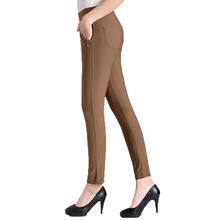Woman Autumn Spring Pants Middle Aged Women's Basic Trousers Elastic Red Khaki Black Blue Pants Lady Slim Fit Trousers Sequined
