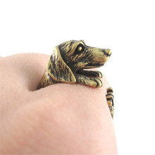 Aimeilai Vintage French dachshund dog rings Dachshund Dog jewerly Gun Black / Antique Silver / Antique Bronze Sausage Dog Ring