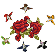 7pcs roses birds patches for clothing iron on patches for clothes badges clothes iron-on parches applique patches for DIY jeans(China)