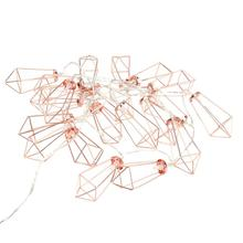 Brand New 20 Metal String Battery Party Night Christmas Tree Decorations String Light 2m 20 LED Rose Gold Fairy Lights(China)