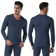 Winter Warm Men 2Pcs/set Cotton V neck Thermal Underwear Set Thicken Long Sleeve Tops Navy Blue, Dark Gray, Light Gray(China)