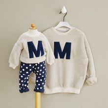 2016 Winter t-shirt Letter A Good quality mother & daughter father baby clothes family set hoodies family clothing sets family