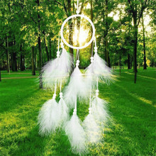 55cm Handmade Indian Dream Catcher Net with Feathers Wind Chimes Wall Hanging Dreamcatcher Craft Gift Free Shipping(China)