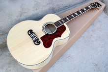 Factory Custom hot sale G 43 inch Acoustic Guitar with red pearl pickguard,golden tuners,flower inlay,can be customized