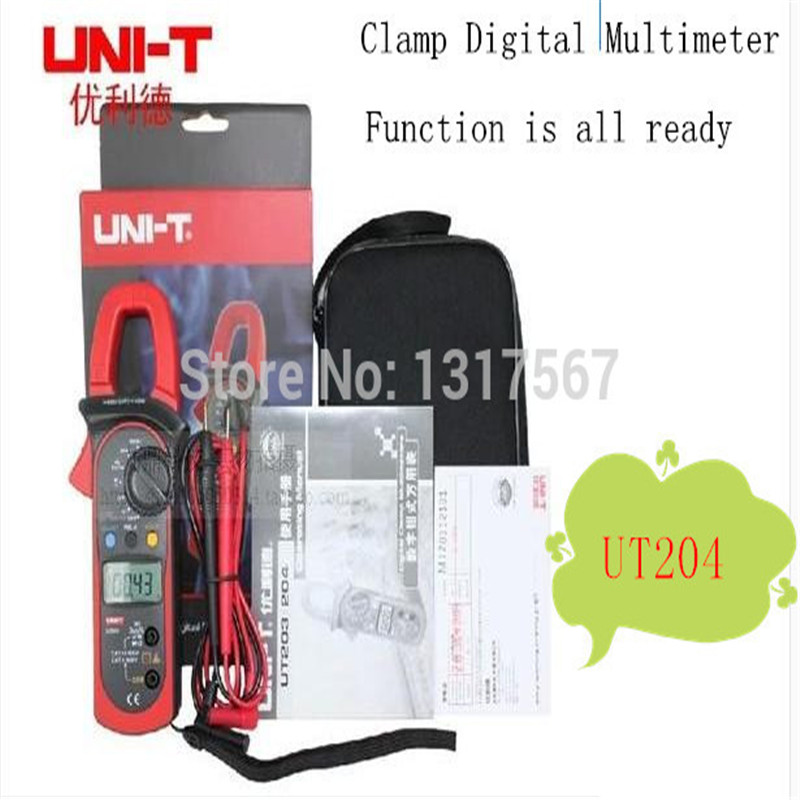 Uni-T UT204 Auto-Ranging AC DC Ture RMS Auto/Manual Range Digital Handheld Clamp Meter Multimeter AC DC Test Tool<br>