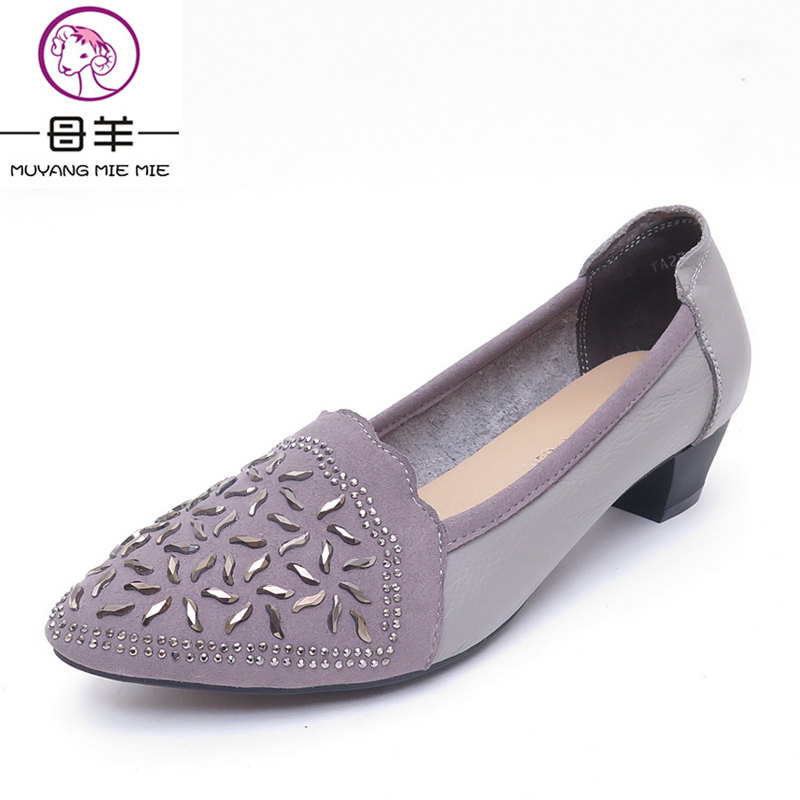 MUYANG MIE MIE Spring And Autumn High Heels New Genuine Leather Rhinestone Casual Shoes Pointed Toe Shoes Women Pumps<br>