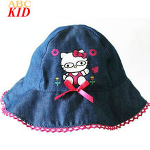 Hot Sale Cheap Stuff Cartoon Hello Kitty Hat Baby Girl Bucket Hats Kids Fishing Hat Pink Jeans Blue Bow Cap BAC016(China)