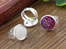12mm 8pcs Children Silver Plated Brass Adjustable Ring Settings Blank/Base,Fit 12mm Glass Cabochons,Buttons;Ring Bezels