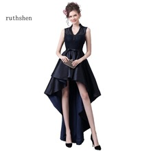 ruthshen High Low Prom Dresses 2017 V-Neck Sexy Short Front Long Back Formal Cocktail Party Dress Navy Blue Prom Gowns Cheap