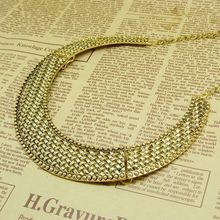 Hot Selling Free Shipping Vintage Metal Knitted Pattern Bronze Color Collar Necklace N606
