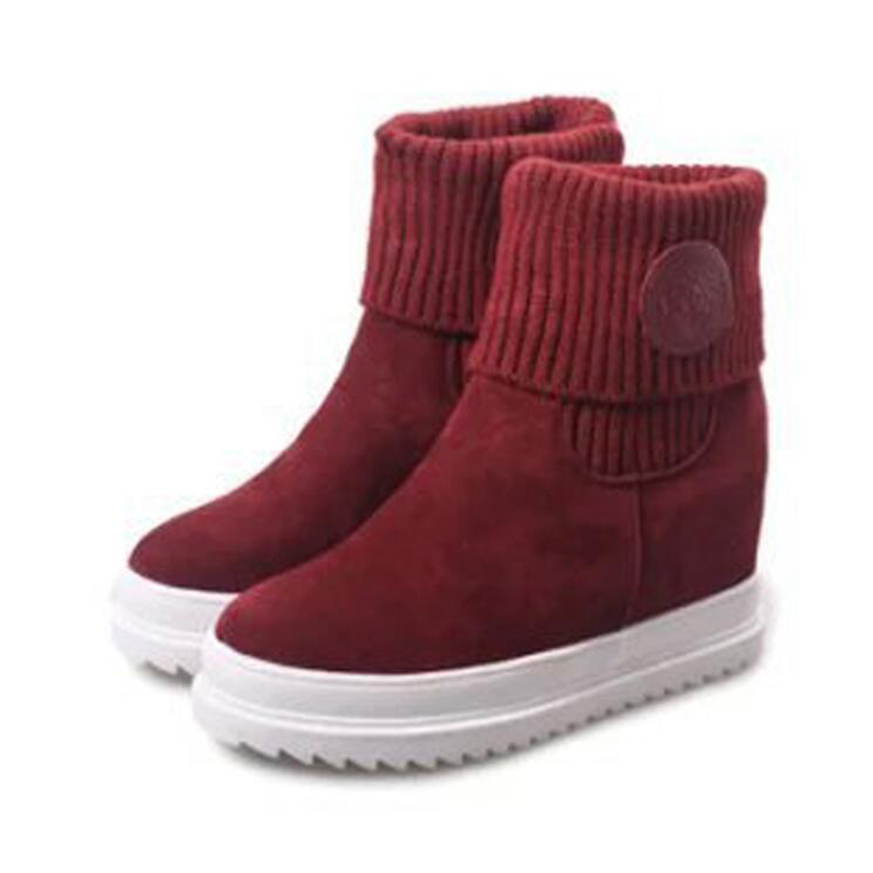 snow boots 2017 Winter brand warm non-slip Wool Knit Platform women boots Winter shoes casual cotton winter boots femal shoes<br><br>Aliexpress
