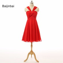 Baijinbai New Vintage Halter Neck Robe vestidos Robe De Cocktail Red Cocktail Dresses Ruffles For Special Occasion Party Dresses