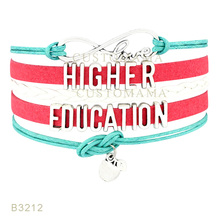 Custom- Infinity Higher Education Apple Charms Bracelets For Women Men Jewelry Gifts Coral Black Red Suede Leather Blacelet